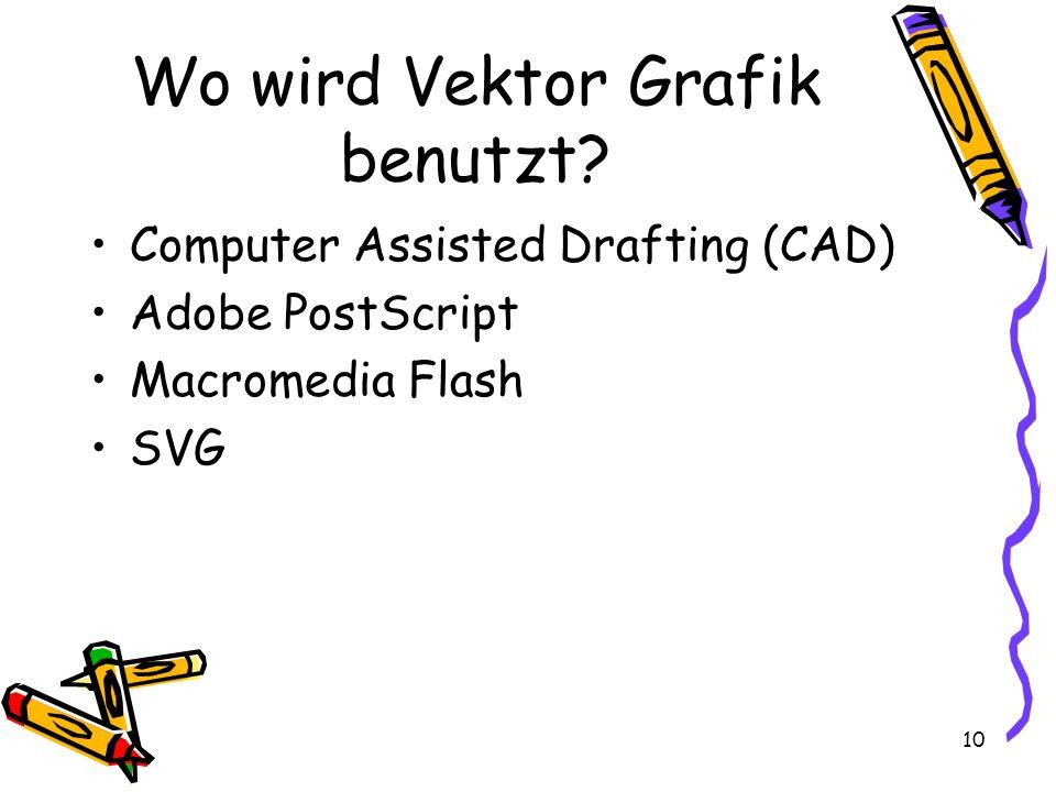 10 Wo wird Vektor Grafik benutzt? Computer Assisted Drafting (CAD) Adobe PostScript Macromedia Flash SVG