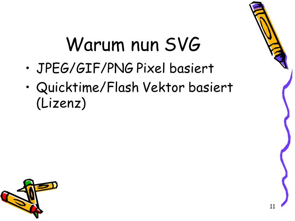 11 Warum nun SVG JPEG/GIF/PNG Pixel basiert Quicktime/Flash Vektor basiert (Lizenz)