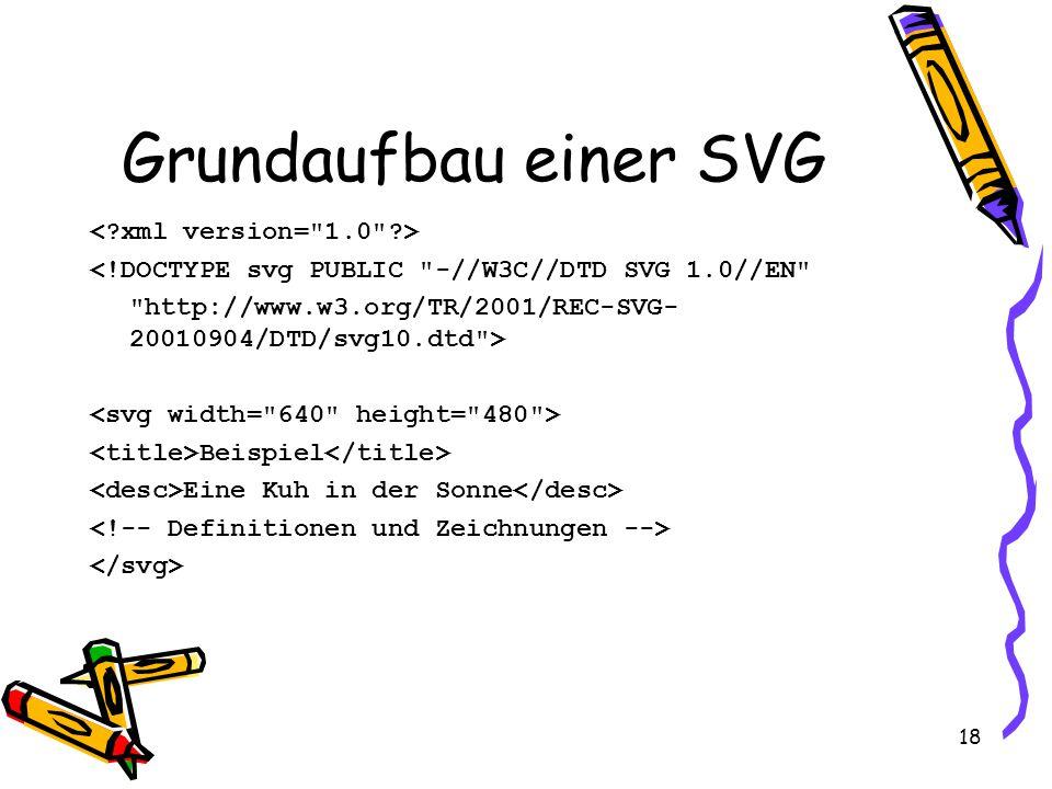 18 Grundaufbau einer SVG <!DOCTYPE svg PUBLIC -//W3C//DTD SVG 1.0//EN http://www.w3.org/TR/2001/REC-SVG- 20010904/DTD/svg10.dtd > Beispiel Eine Kuh in der Sonne