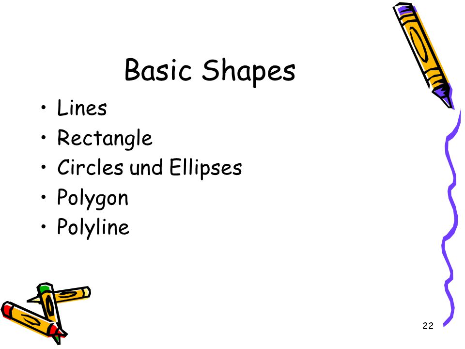 22 Basic Shapes Lines Rectangle Circles und Ellipses Polygon Polyline