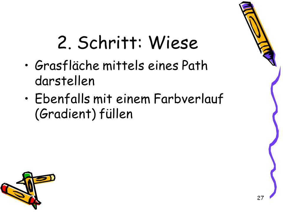 27 2. Schritt: Wiese Grasfläche mittels eines Path darstellen Ebenfalls mit einem Farbverlauf (Gradient) füllen