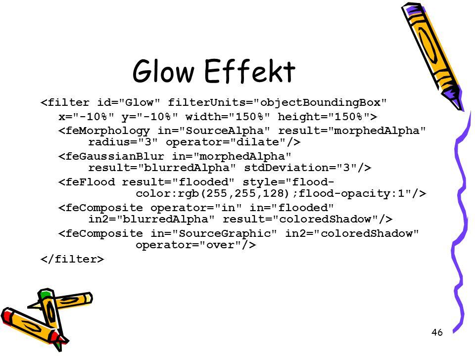46 Glow Effekt <filter id= Glow filterUnits= objectBoundingBox x= -10% y= -10% width= 150% height= 150% >