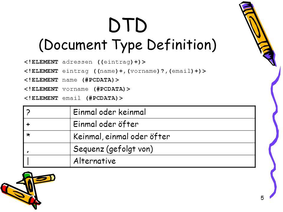5 DTD (Document Type Definition) ?Einmal oder keinmal +Einmal oder öfter *Keinmal, einmal oder öfter,Sequenz (gefolgt von) |Alternative