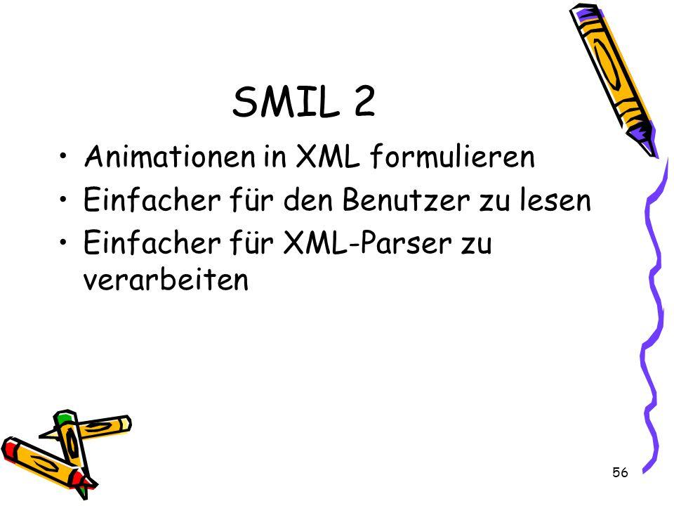 56 SMIL 2 Animationen in XML formulieren Einfacher für den Benutzer zu lesen Einfacher für XML-Parser zu verarbeiten