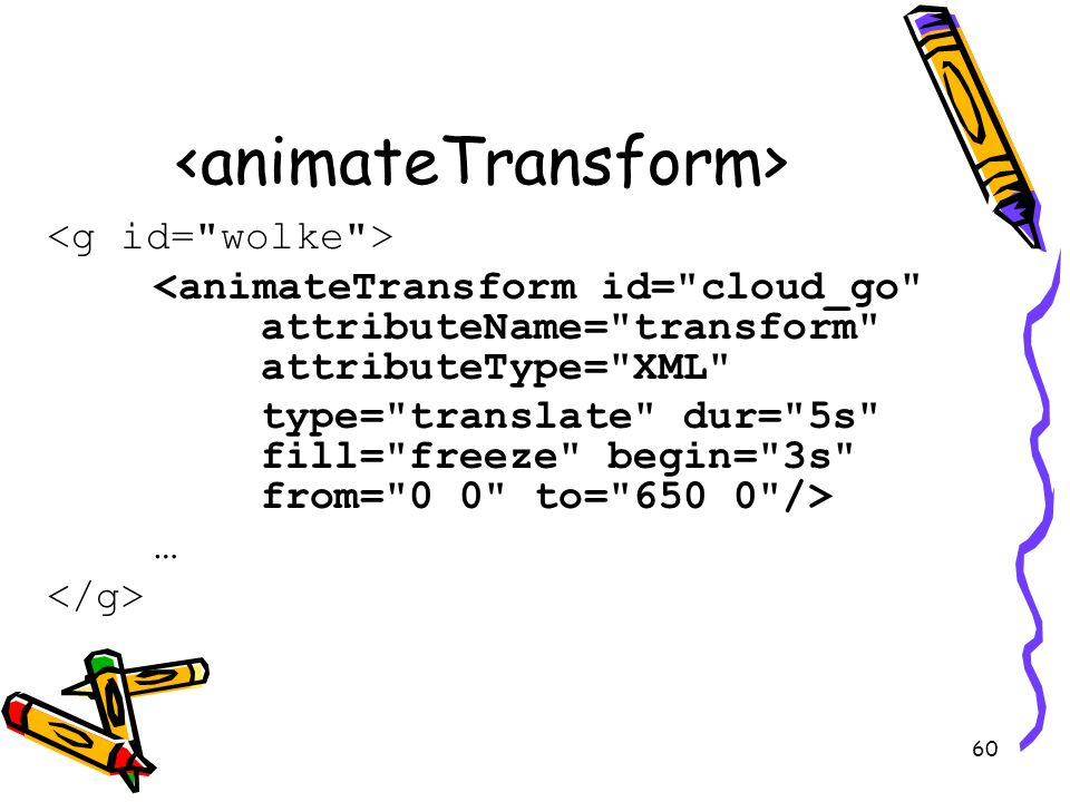 60 <animateTransform id= cloud_go attributeName= transform attributeType= XML type= translate dur= 5s fill= freeze begin= 3s from= 0 0 to= /> …
