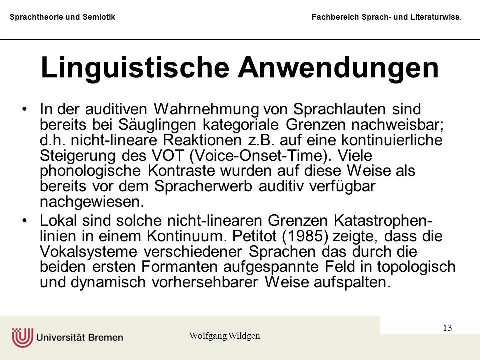 Sprachtheorie und Semiotik Fachbereich Sprach- und Literaturwiss. Wolfgang Wildgen 13 Linguistische Anwendungen In der auditiven Wahrnehmung von Sprac