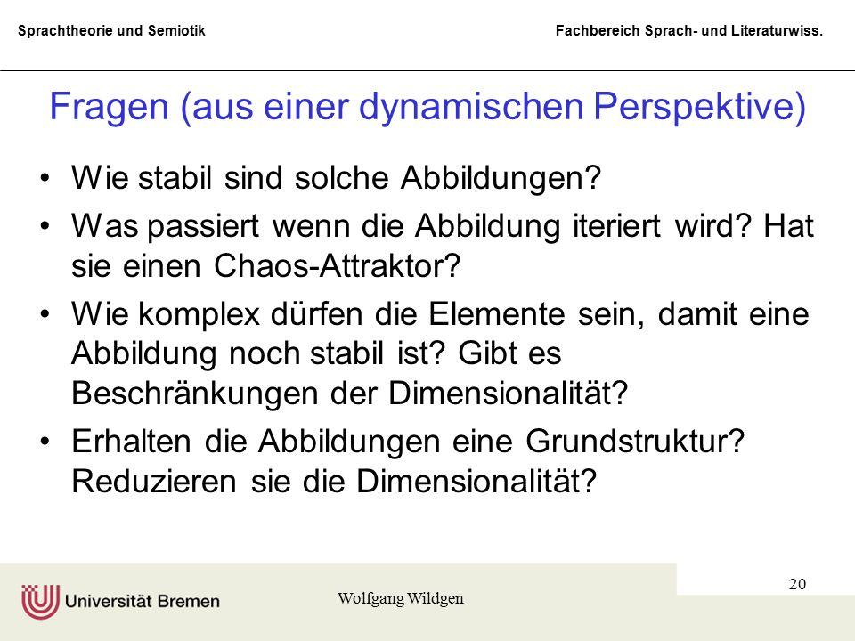 Sprachtheorie und Semiotik Fachbereich Sprach- und Literaturwiss. Wolfgang Wildgen 20 Fragen (aus einer dynamischen Perspektive) Wie stabil sind solch