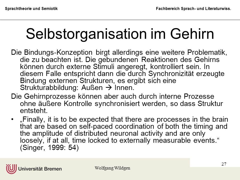 Sprachtheorie und Semiotik Fachbereich Sprach- und Literaturwiss. Wolfgang Wildgen 27 Selbstorganisation im Gehirn Die Bindungs-Konzeption birgt aller