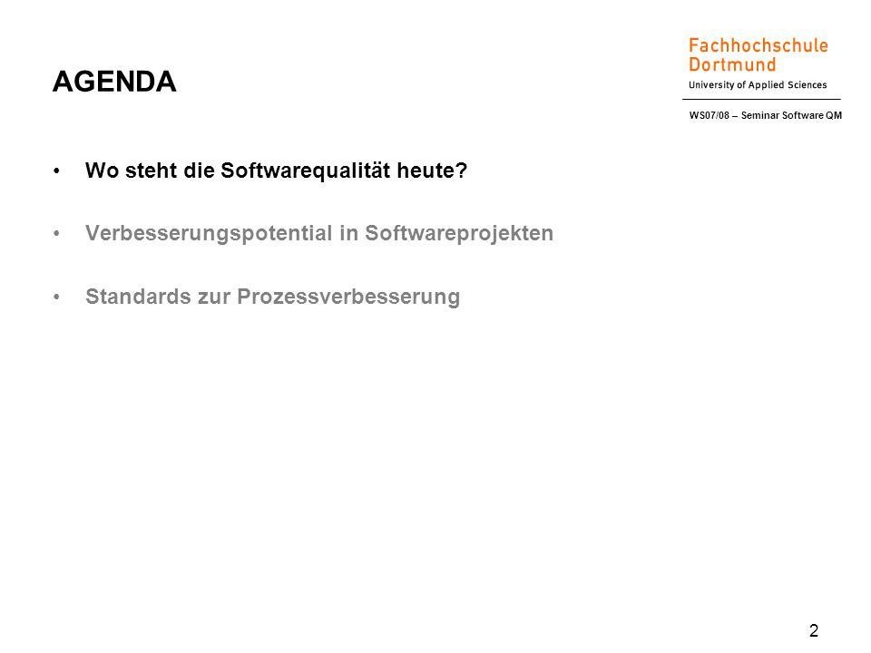 WS07/08 – Seminar Software QM 2 AGENDA Wo steht die Softwarequalität heute.