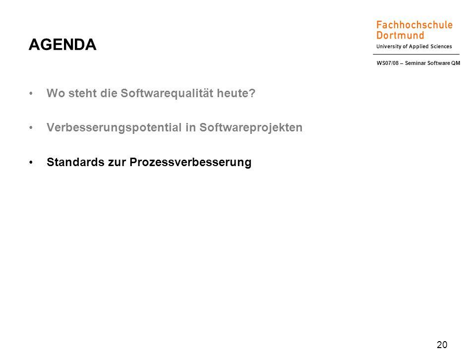 WS07/08 – Seminar Software QM 20 AGENDA Wo steht die Softwarequalität heute.