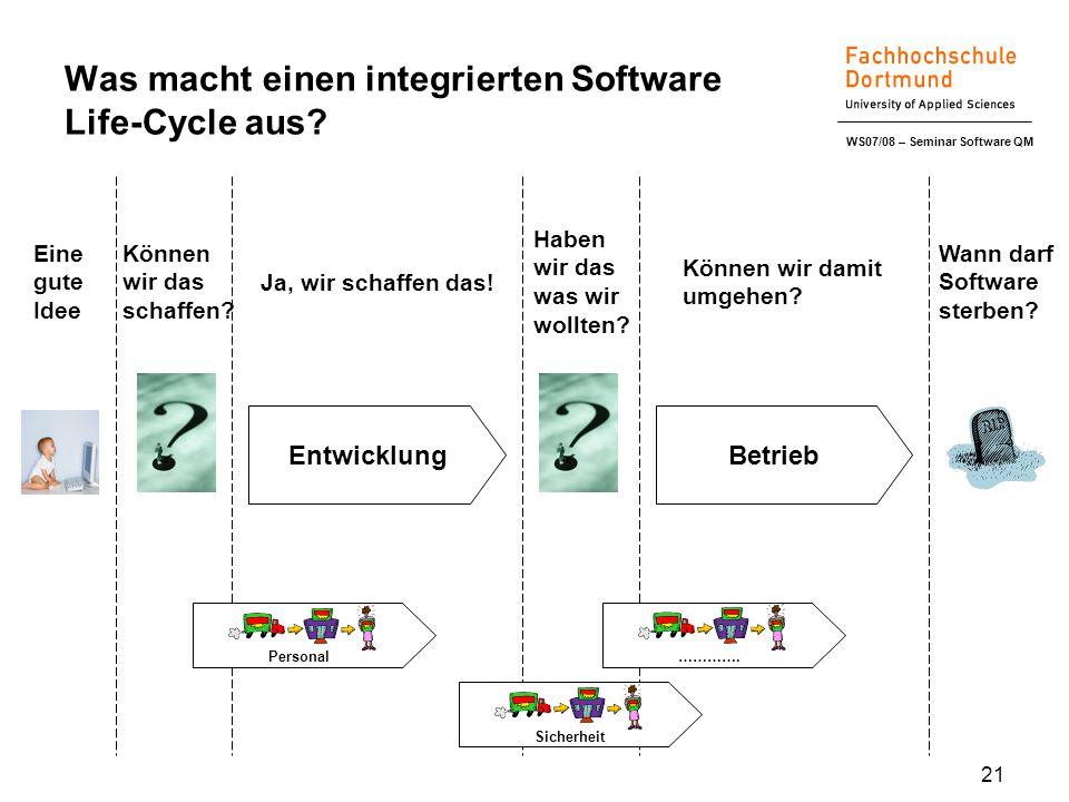 WS07/08 – Seminar Software QM 21 Was macht einen integrierten Software Life-Cycle aus.