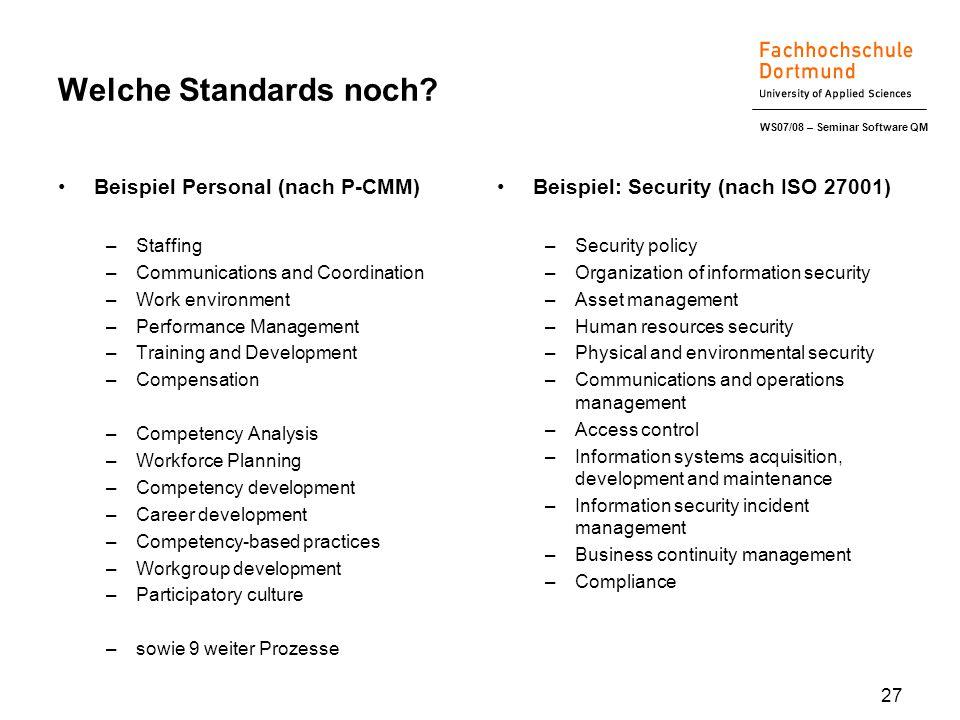 WS07/08 – Seminar Software QM 27 Welche Standards noch? Beispiel Personal (nach P-CMM) –Staffing –Communications and Coordination –Work environment –P