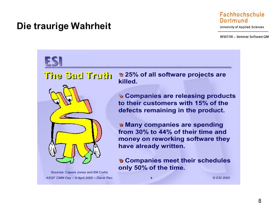 WS07/08 – Seminar Software QM 8 Die traurige Wahrheit