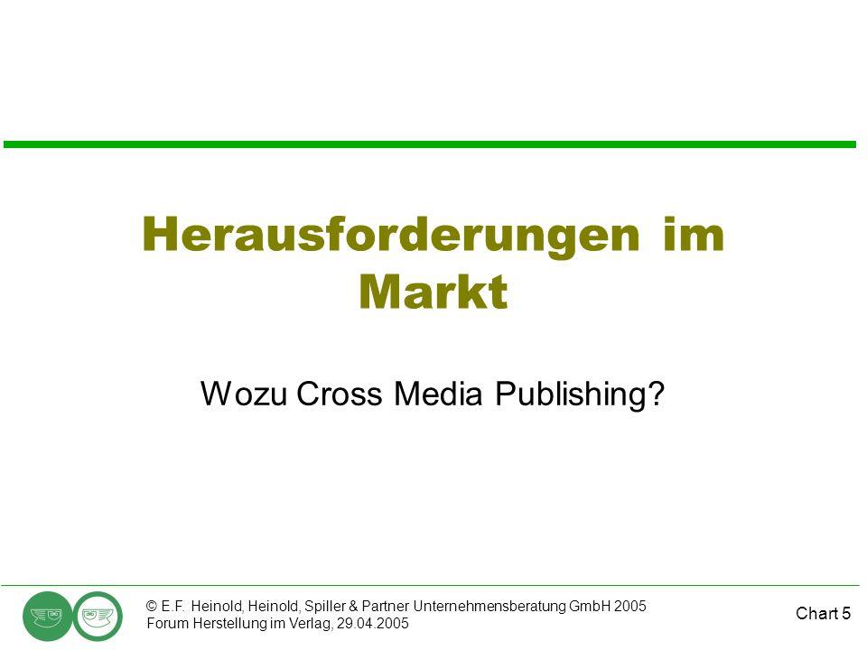 Chart 5 © E.F. Heinold, Heinold, Spiller & Partner Unternehmensberatung GmbH 2005 Forum Herstellung im Verlag, 29.04.2005 Herausforderungen im Markt W