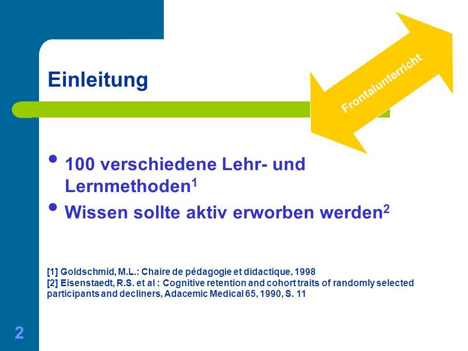 01.06.2015 Gerda Nussbaumer - Master of Medical Education 2 Einleitung 100 verschiedene Lehr- und Lernmethoden 1 Wissen sollte aktiv erworben werden 2
