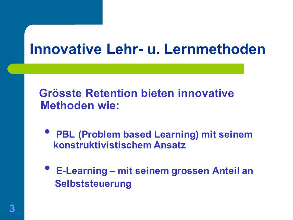 01.06.2015 Gerda Nussbaumer - Master of Medical Education 3 Innovative Lehr- u. Lernmethoden Grösste Retention bieten innovative Methoden wie: PBL (Pr