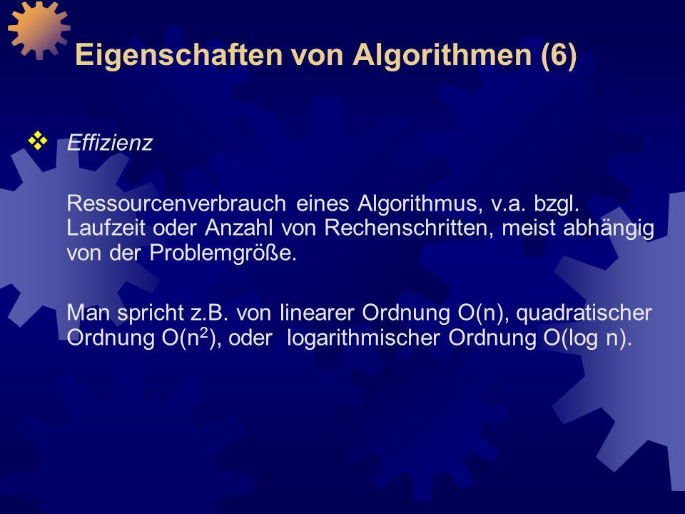 Eigenschaften von Algorithmen (6)  Effizienz Ressourcenverbrauch eines Algorithmus, v.a.