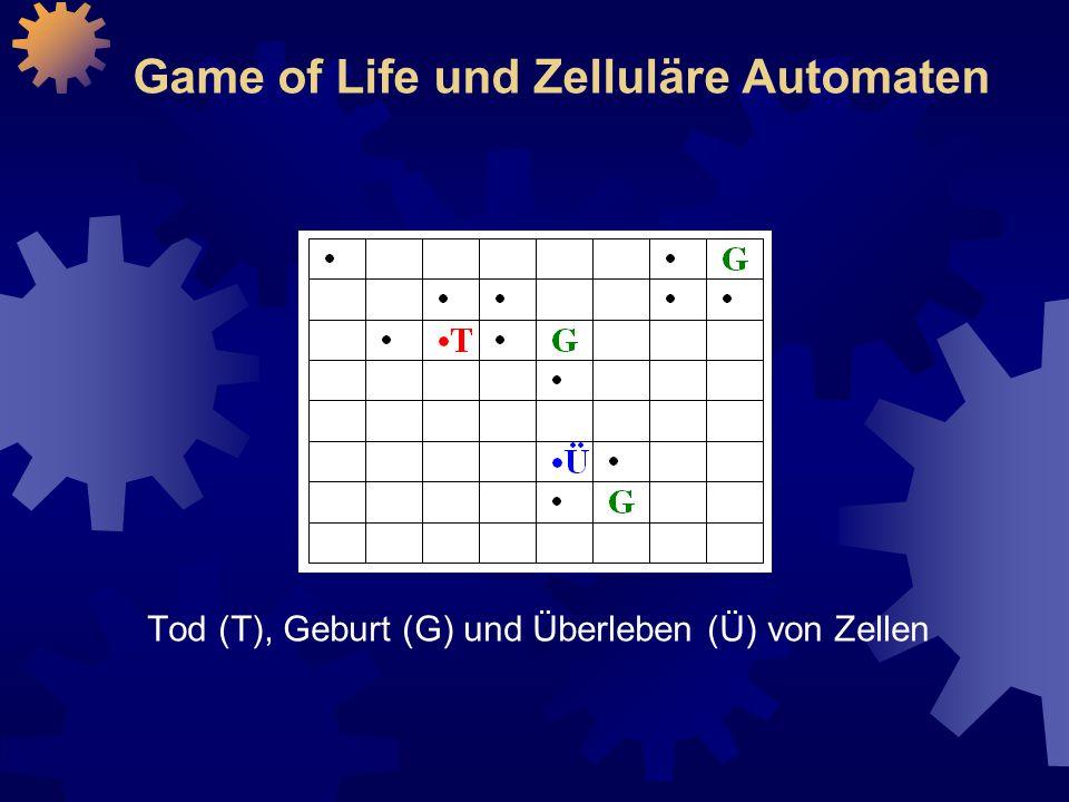 Game of Life und Zelluläre Automaten Tod (T), Geburt (G) und Überleben (Ü) von Zellen