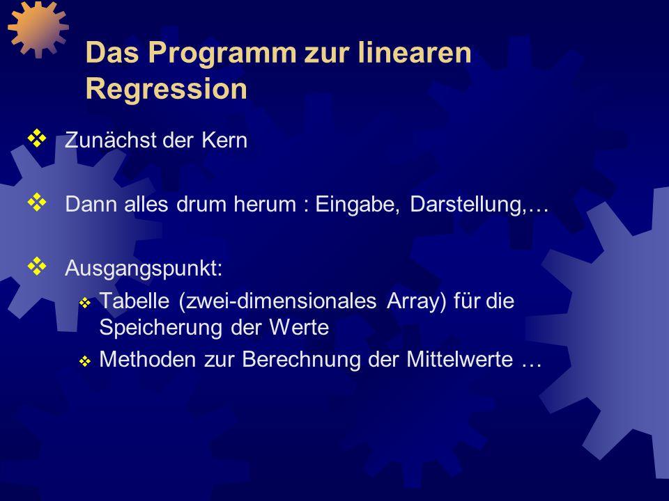 Das Programm zur linearen Regression  Zunächst der Kern  Dann alles drum herum : Eingabe, Darstellung,…  Ausgangspunkt:  Tabelle (zwei-dimensionales Array) für die Speicherung der Werte  Methoden zur Berechnung der Mittelwerte …
