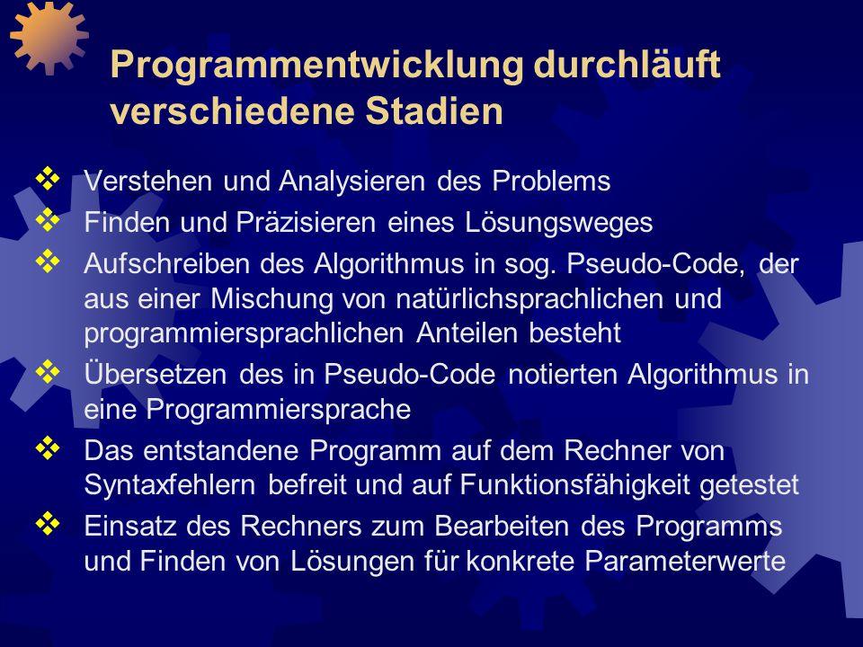 Programmentwicklung durchläuft verschiedene Stadien  Verstehen und Analysieren des Problems  Finden und Präzisieren eines Lösungsweges  Aufschreiben des Algorithmus in sog.