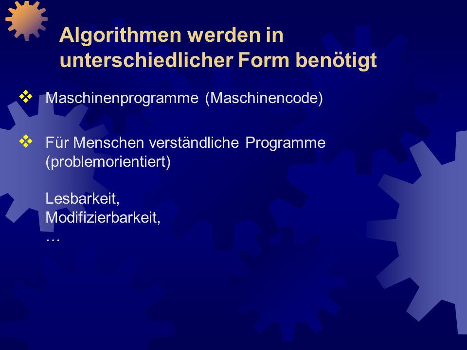 Algorithmen werden in unterschiedlicher Form benötigt  Maschinenprogramme (Maschinencode)  Für Menschen verständliche Programme (problemorientiert) Lesbarkeit, Modifizierbarkeit, …