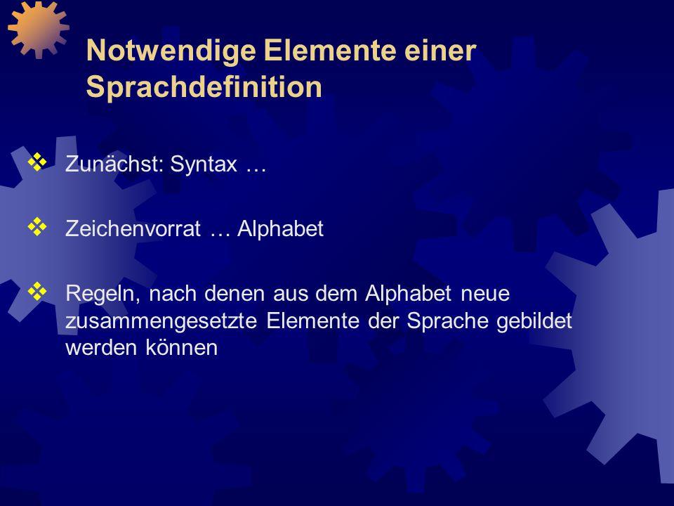Notwendige Elemente einer Sprachdefinition  Zunächst: Syntax …  Zeichenvorrat … Alphabet  Regeln, nach denen aus dem Alphabet neue zusammengesetzte Elemente der Sprache gebildet werden können