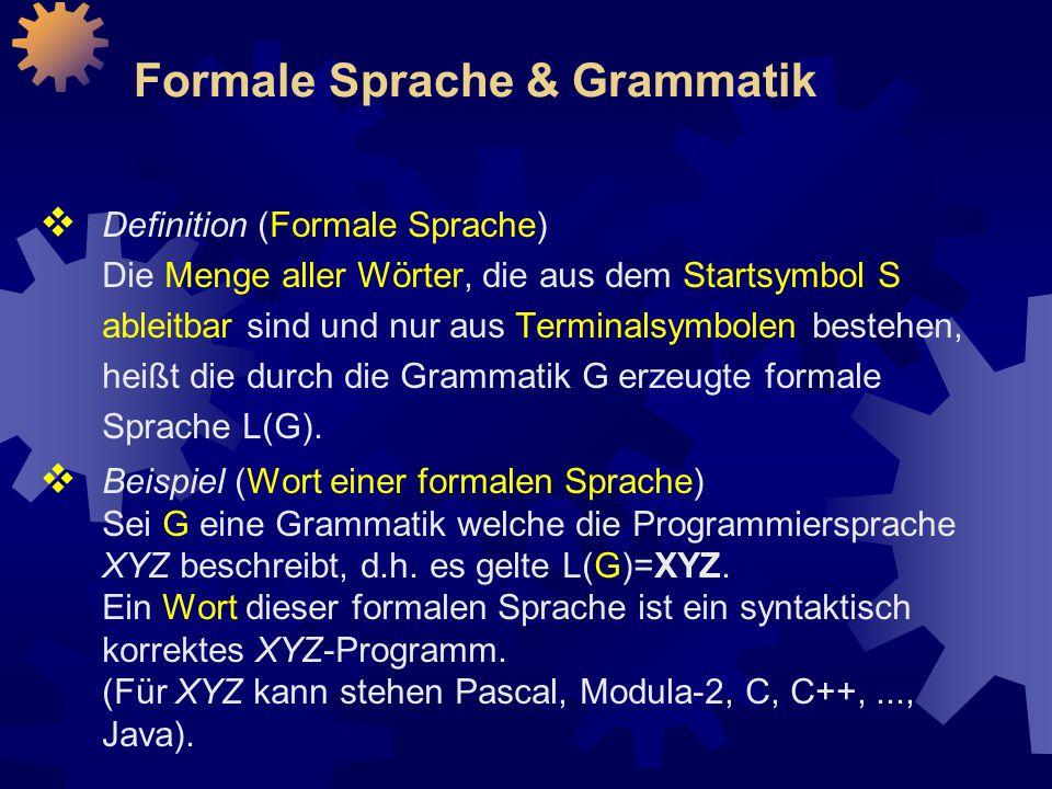 Formale Sprache & Grammatik  Definition (Formale Sprache) Die Menge aller Wörter, die aus dem Startsymbol S ableitbar sind und nur aus Terminalsymbolen bestehen, heißt die durch die Grammatik G erzeugte formale Sprache L(G).