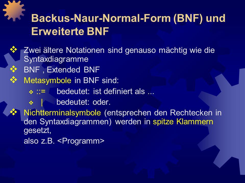 Backus-Naur-Normal-Form (BNF) und Erweiterte BNF  Zwei ältere Notationen sind genauso mächtig wie die Syntaxdiagramme  BNF, Extended BNF  Metasymbole in BNF sind:  ::= bedeutet: ist definiert als...