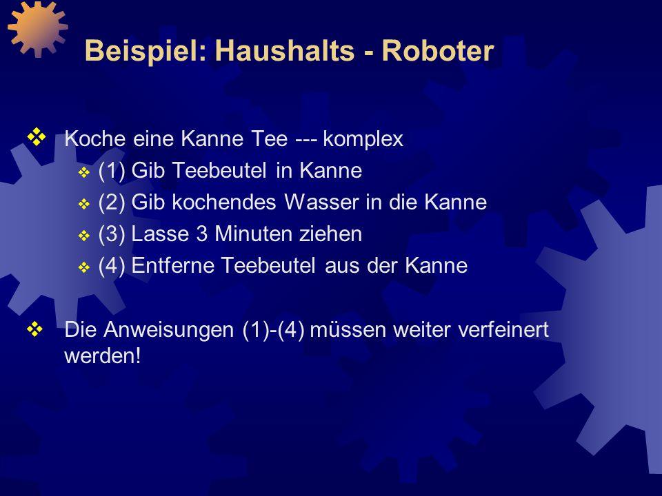 Beispiel: Haushalts - Roboter  Koche eine Kanne Tee --- komplex  (1) Gib Teebeutel in Kanne  (2) Gib kochendes Wasser in die Kanne  (3) Lasse 3 Minuten ziehen  (4) Entferne Teebeutel aus der Kanne  Die Anweisungen (1)-(4) müssen weiter verfeinert werden!