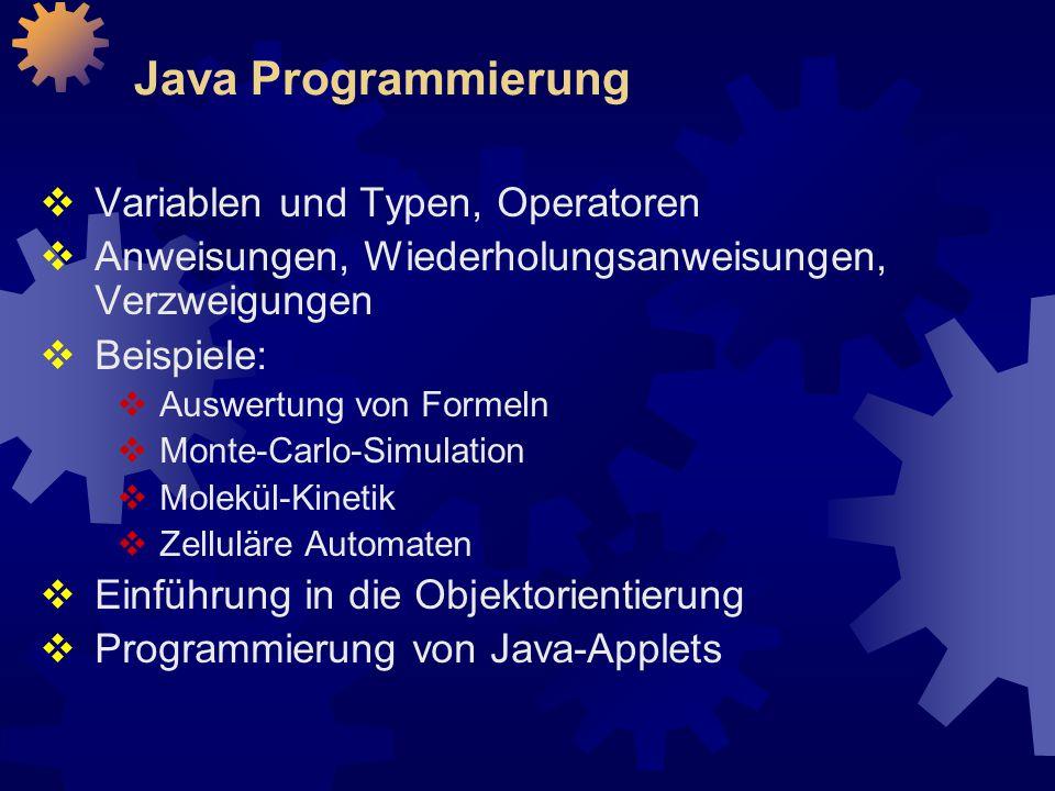 Java Programmierung  Variablen und Typen, Operatoren  Anweisungen, Wiederholungsanweisungen, Verzweigungen  Beispiele:  Auswertung von Formeln  Monte-Carlo-Simulation  Molekül-Kinetik  Zelluläre Automaten  Einführung in die Objektorientierung  Programmierung von Java-Applets