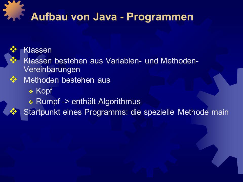 Aufbau von Java - Programmen  Klassen  Klassen bestehen aus Variablen- und Methoden- Vereinbarungen  Methoden bestehen aus  Kopf  Rumpf -> enthält Algorithmus  Startpunkt eines Programms: die spezielle Methode main