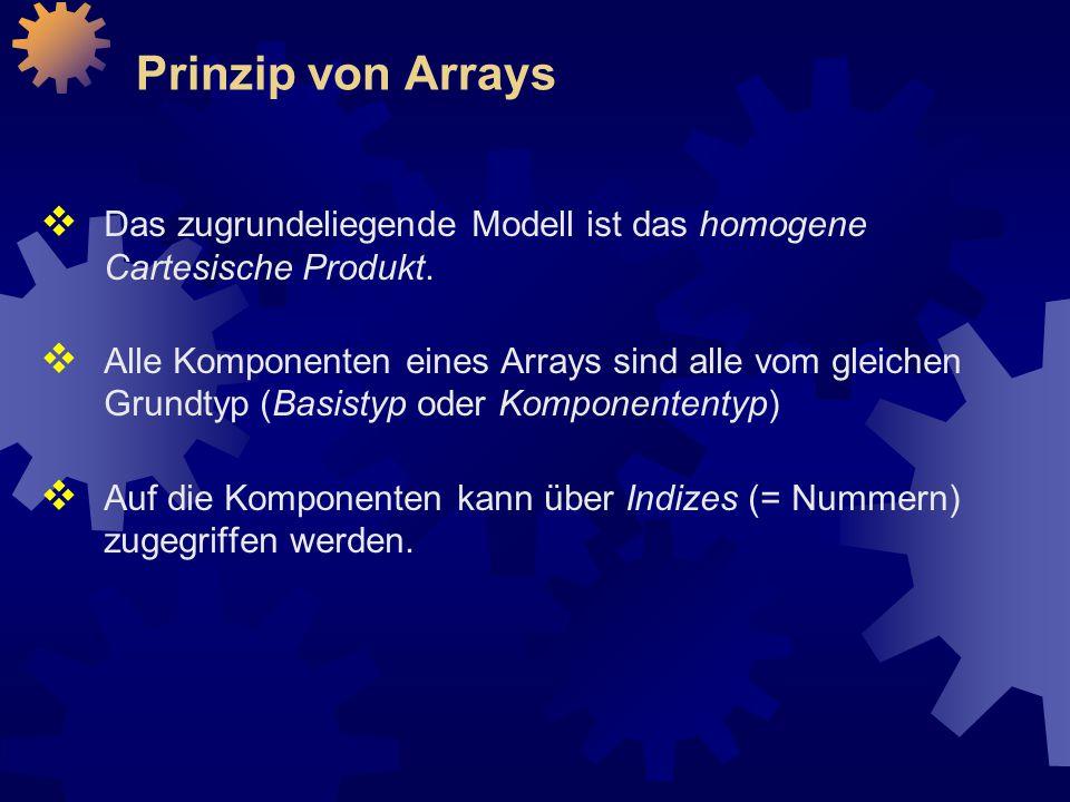 Prinzip von Arrays  Das zugrundeliegende Modell ist das homogene Cartesische Produkt.