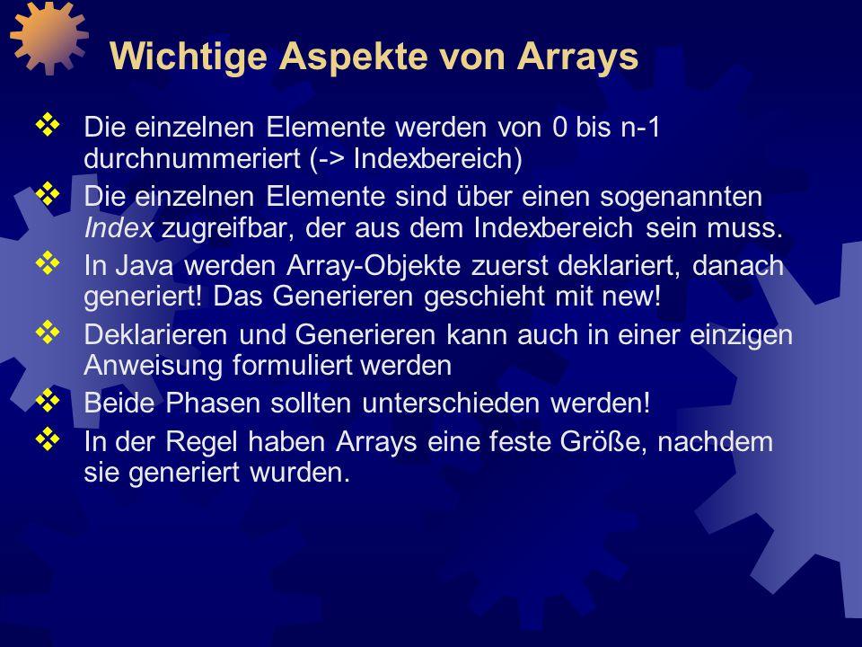 Wichtige Aspekte von Arrays  Die einzelnen Elemente werden von 0 bis n-1 durchnummeriert (-> Indexbereich)  Die einzelnen Elemente sind über einen sogenannten Index zugreifbar, der aus dem Indexbereich sein muss.