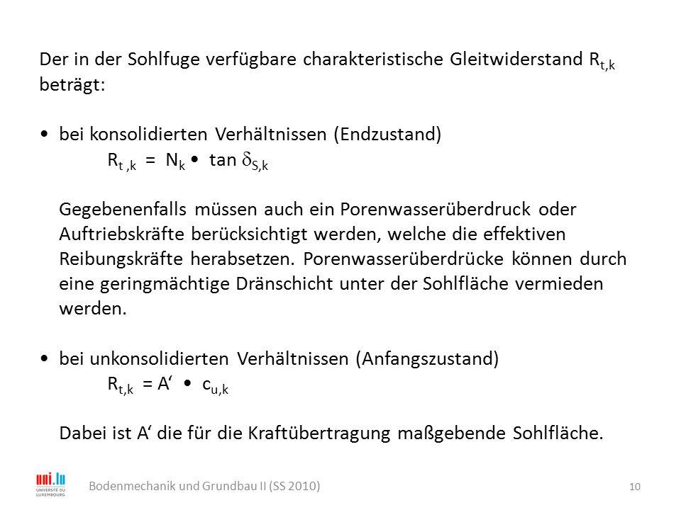 10 Bodenmechanik und Grundbau II (SS 2010) Der in der Sohlfuge verfügbare charakteristische Gleitwiderstand R t,k beträgt: bei konsolidierten Verhältn