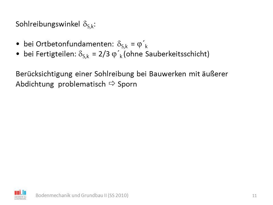11 Bodenmechanik und Grundbau II (SS 2010) Sohlreibungswinkel  S,k : bei Ortbetonfundamenten:  S,k =  ´ k bei Fertigteilen:  S,k = 2/3  ´ k (ohne
