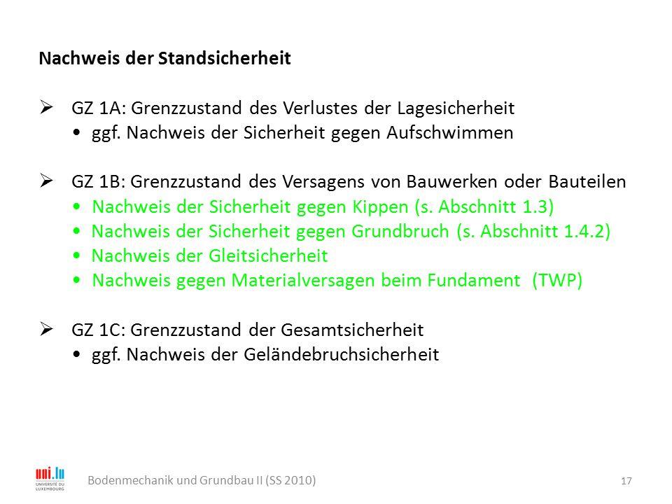 17 Bodenmechanik und Grundbau II (SS 2010) Nachweis der Standsicherheit  GZ 1A: Grenzzustand des Verlustes der Lagesicherheit ggf. Nachweis der Siche