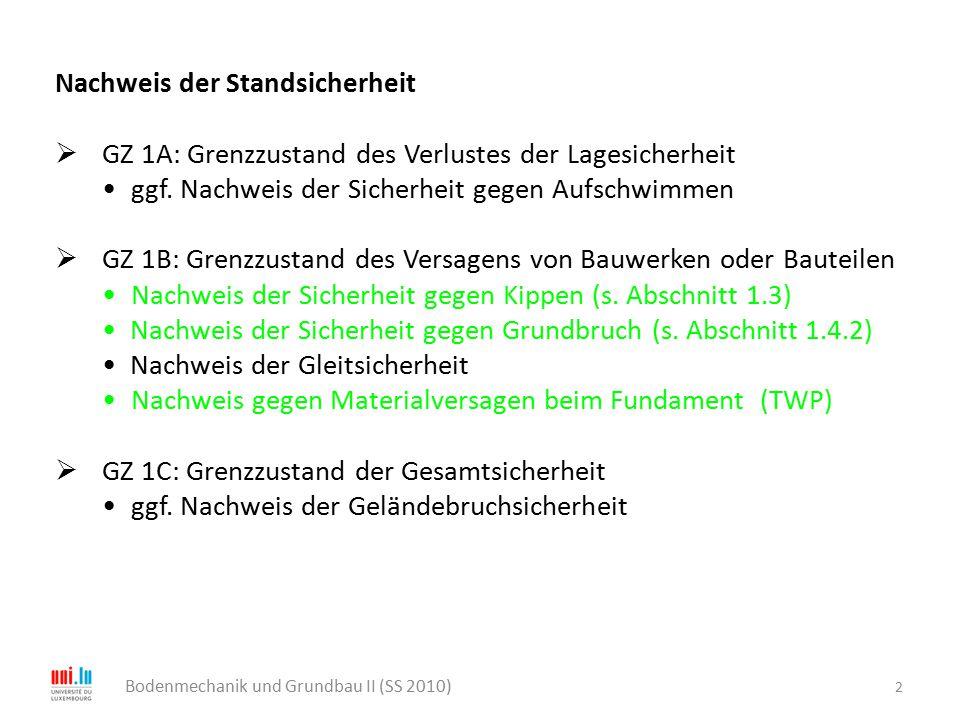 2 Bodenmechanik und Grundbau II (SS 2010) Nachweis der Standsicherheit  GZ 1A: Grenzzustand des Verlustes der Lagesicherheit ggf. Nachweis der Sicher