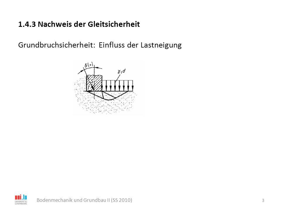 4 Bodenmechanik und Grundbau II (SS 2010) Gleitsicherheit: Versagensmechanismus I (Sohlfuge – Boden) Gleitsicherheit: Versagensmechanismus II (Fundament + Boden - Boden)  1, c 1  2 <  1, c 2 < c 1