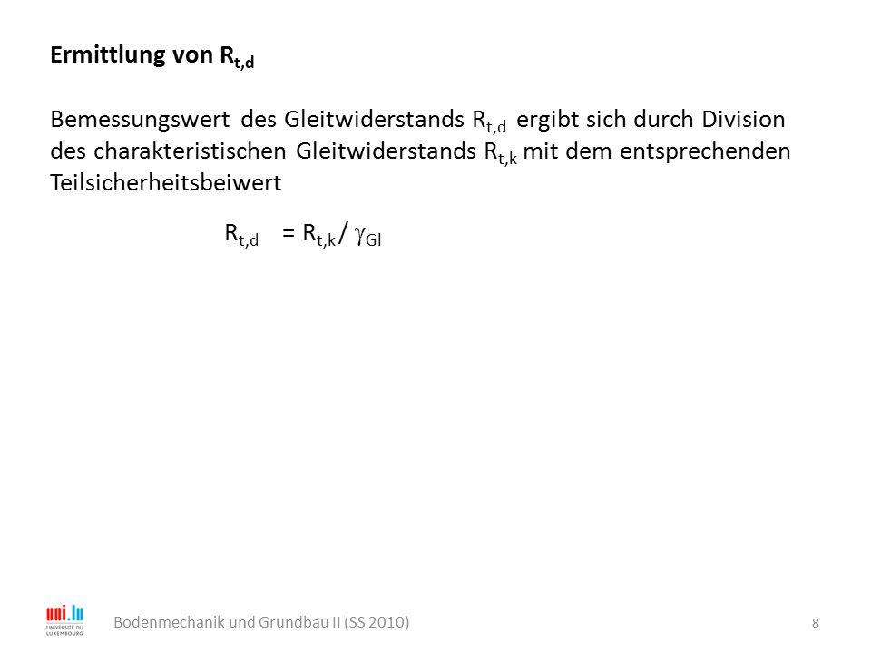 8 Ermittlung von R t,d Bemessungswert des Gleitwiderstands R t,d ergibt sich durch Division des charakteristischen Gleitwiderstands R t,k mit dem ents
