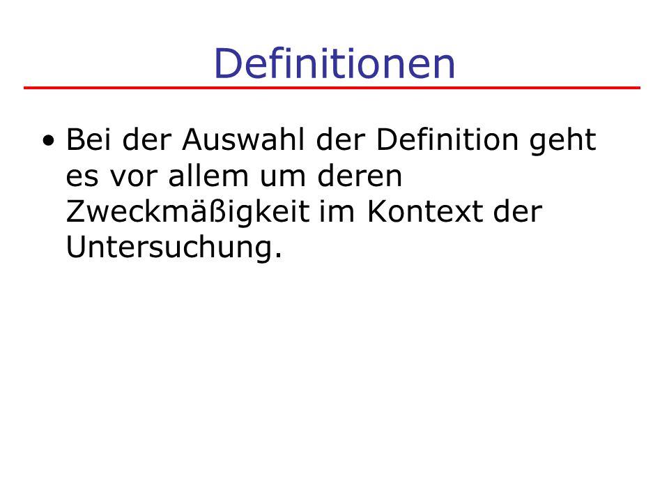 Definitionen Bei der Auswahl der Definition geht es vor allem um deren Zweckmäßigkeit im Kontext der Untersuchung.