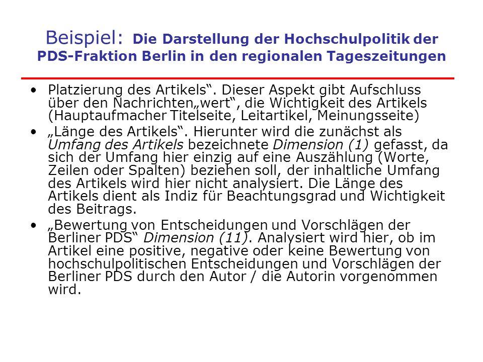 """Beispiel: Die Darstellung der Hochschulpolitik der PDS-Fraktion Berlin in den regionalen Tageszeitungen Platzierung des Artikels"""". Dieser Aspekt gibt"""