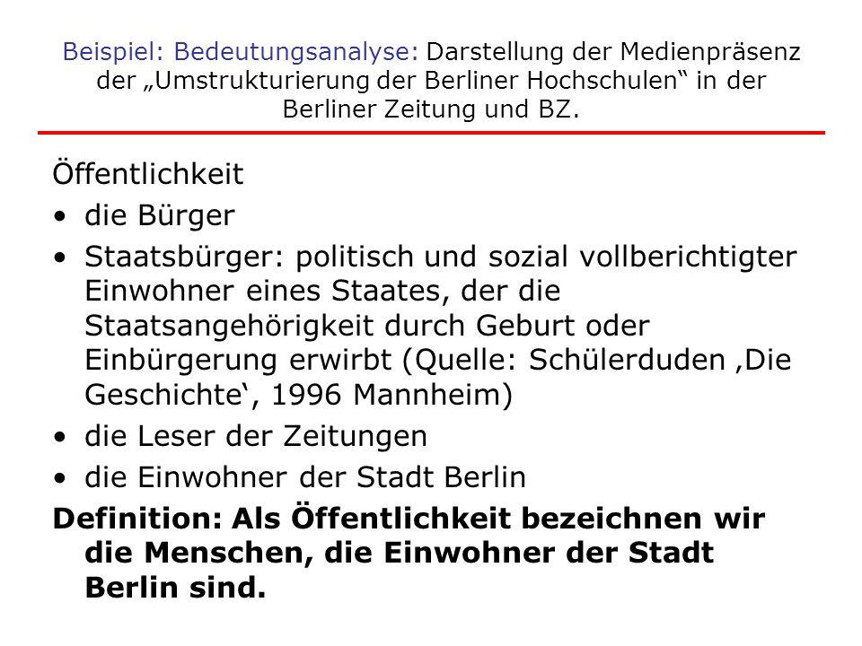 """Beispiel: Bedeutungsanalyse: Darstellung der Medienpräsenz der """"Umstrukturierung der Berliner Hochschulen"""" in der Berliner Zeitung und BZ. Öffentlichk"""