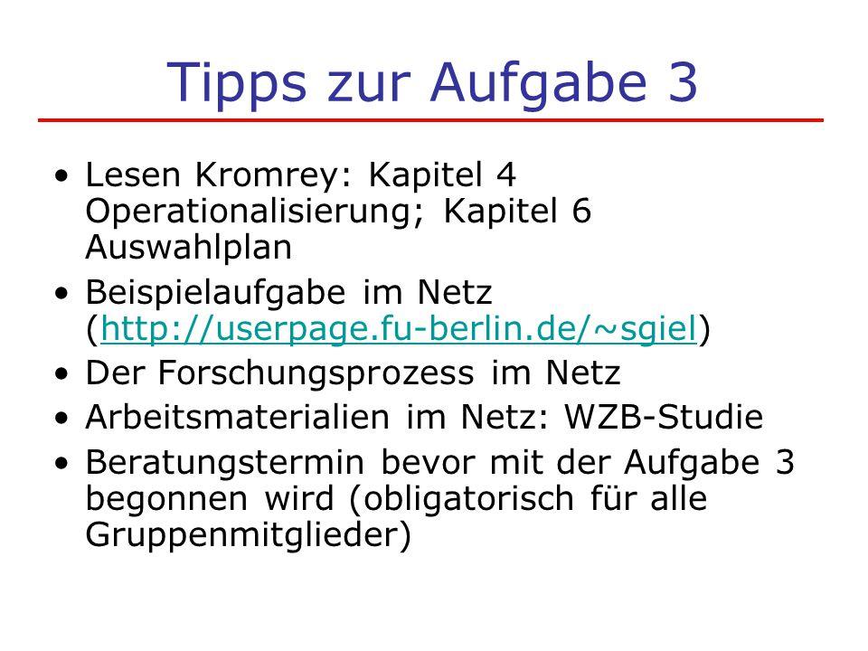 Tipps zur Aufgabe 3 Lesen Kromrey: Kapitel 4 Operationalisierung; Kapitel 6 Auswahlplan Beispielaufgabe im Netz (http://userpage.fu-berlin.de/~sgiel)h
