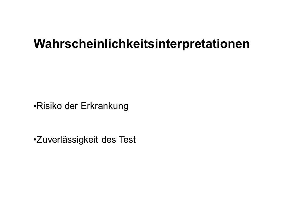 Wahrscheinlichkeitsinterpretationen Risiko der Erkrankung Zuverlässigkeit des Test