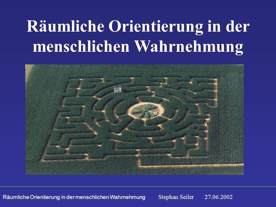 Räumliche Orientierung in der menschlichen Wahrnehmung Stephan Seiler 27.06.2002 Räumliche Orientierung in der menschlichen Wahrnehmung