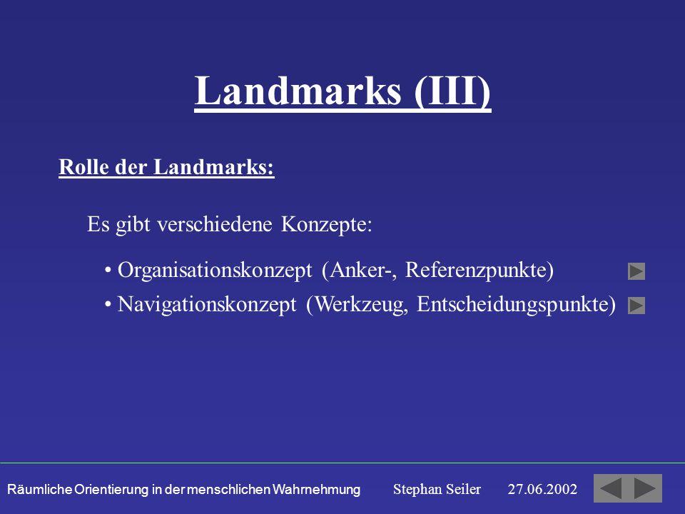 Räumliche Orientierung in der menschlichen Wahrnehmung Stephan Seiler 27.06.2002 Landmarks (III) Rolle der Landmarks: Es gibt verschiedene Konzepte: Organisationskonzept (Anker-, Referenzpunkte) Navigationskonzept (Werkzeug, Entscheidungspunkte)