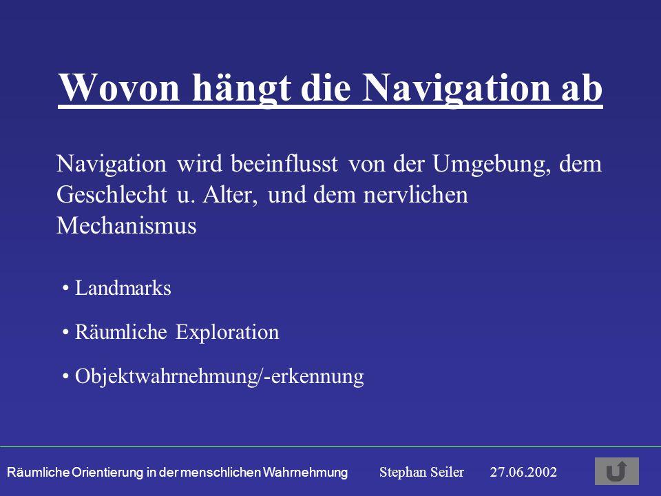 Räumliche Orientierung in der menschlichen Wahrnehmung Stephan Seiler 27.06.2002 Wovon hängt die Navigation ab Navigation wird beeinflusst von der Umgebung, dem Geschlecht u.