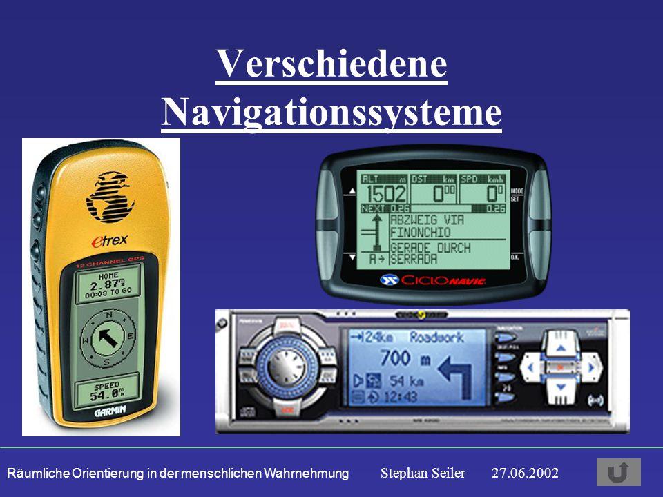 Räumliche Orientierung in der menschlichen Wahrnehmung Stephan Seiler 27.06.2002 Verschiedene Navigationssysteme