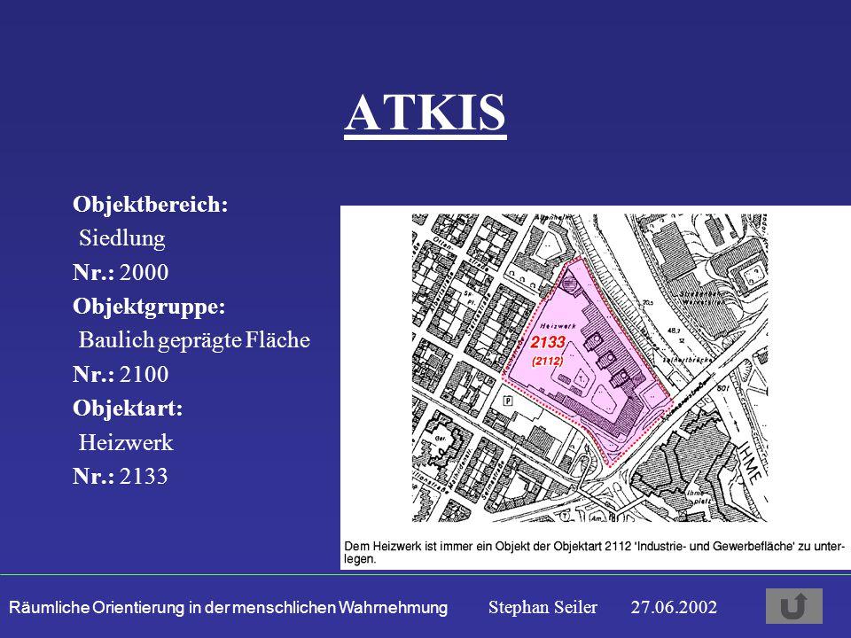 Räumliche Orientierung in der menschlichen Wahrnehmung Stephan Seiler 27.06.2002 ATKIS Objektbereich: Siedlung Nr.: 2000 Objektgruppe: Baulich geprägte Fläche Nr.: 2100 Objektart: Heizwerk Nr.: 2133