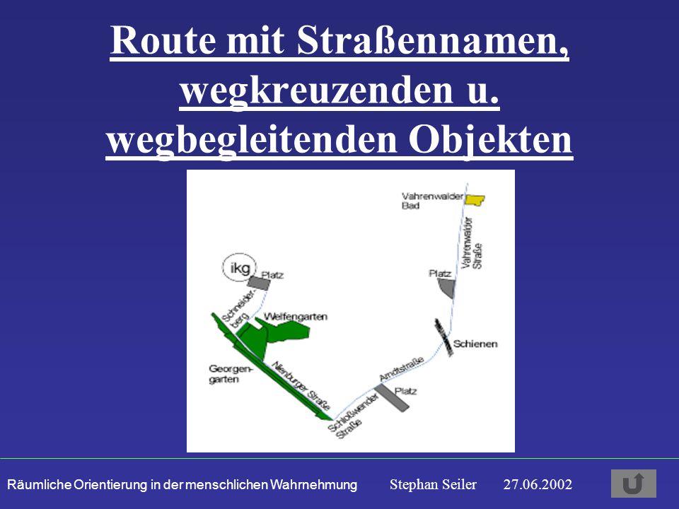 Räumliche Orientierung in der menschlichen Wahrnehmung Stephan Seiler 27.06.2002 Route mit Straßennamen, wegkreuzenden u.